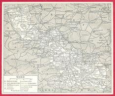 Carte Du Département Du Nord, Préfecture, Sous Préfecture, Chef Lieu , Commune, évêché... Larousse 1908 - Old Paper