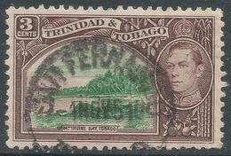 Trinidad & Tobago. 1938-44 KGVI. 3c Green & Brown Used. SG 248a - Trinidad & Tobago (...-1961)