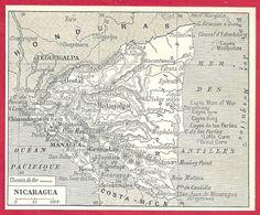 Carte Du Nicaragua, Larousse 1908 - Old Paper
