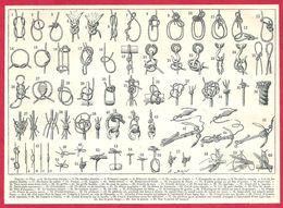 Nœud, 60 Types De Nœuds, Illustration A Brun, Larousse 1908 - Old Paper