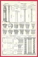 Ordres, Colonnes, Ordres Grecs, Types De Chapiteaux à Divers époques, Ordres Romains Larousse 1908 - Old Paper