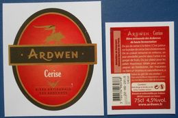 Etiquette  Biere  ARDWEN  Cerise  75cl  Bière Artisanale Des Ardennes - Beer