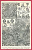 Peuples Et Animaux D'Océanie, Illustration A Millot Recto, Carte De L'Océanie Verso, Larousse 1908 - Old Paper