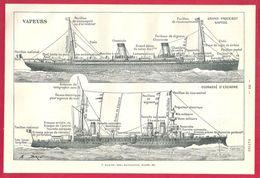 """Vapeurs, Grand Paquebot Rapide, Cuirassé D""""escadre, Illustration A Brun, Larousse 1908 - Old Paper"""