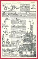 Natation, Nage, Plongeon, Larousse 1908 - Old Paper
