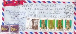 AIRMAIL ENVELOPE CIRCULEE CIRCA 2001 EGYPT TO ARGENTINE MIXED STAMPS- BLEUP - Libië