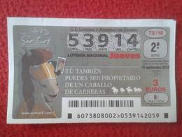 SPAIN ESPAGNE DÉCIMO DE LOTERÍA NACIONAL NATIONAL LOTTERY CARRERAS DE CABALLOS CABALLO HORSE RACE COURSE DE CHEVAUX VER - Lottery Tickets