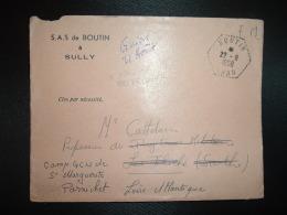LETTRE SAS De BOUTIN à SULLY En FM OBL. HEXAGONALE Tiretée 22-8 1958 BOUTIN ORAN +Réexpédition+ VAGUEMESTRE DU PRYTANEE - Marcophilie (Lettres)