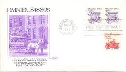 USA OMNIBUS 1880 FDC     (SET180054) - Bus