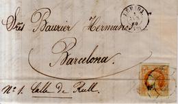 Año 1860 Edifil 52 4c Isabel II Carta Matasellos Rueda De Carreta AZUL 32 Lerida - 1850-68 Königreich: Isabella II.