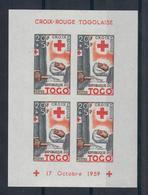 TOGO 1959 - 100° CROCE ROSSA - 3 FOGLIETTI DENTELLATI E 3 NON DENTELLATI - MNH** - Togo (1960-...)