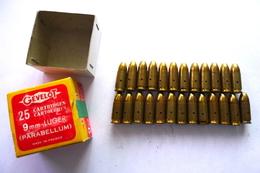 BOITE DE 25 CARTOUCHES 9 MM LUGER GÉVELOT NEUTRALISÉES. - Decorative Weapons