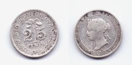 Ceylon 25 Cents 1895 - Sri Lanka
