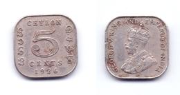 Ceylon 5 Cents 1926 - Sri Lanka