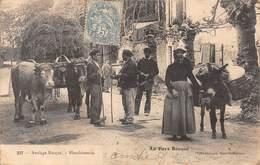 .D.18-2034  : AU PAYS BASQUE. ATTELAGE DE BOEUFS ET BLANCHISSEUSE AVEC SON ANE. - France
