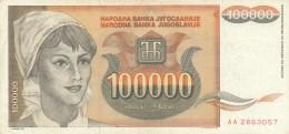 BANCONOTA JUGOSLAVIA 100000 DINARA-VF (Z1504 - Jugoslavia