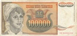 BANCONOTA JUGOSLAVIA 100000 DINARA-VF (Z1505 - Jugoslavia