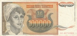 BANCONOTA JUGOSLAVIA 100000 DINARA-VF (Z1551 - Jugoslavia