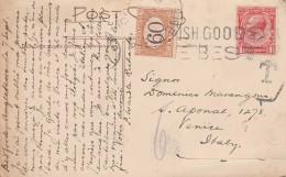 CARTOLINA PRIMI 900 DA REGNO UNITO PER ITALIA RARO SEGNATASSE DA 60 CENT. (Z1569 - 1902-1951 (Re)