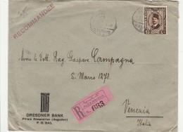 RACCOMANDATA 1935 DA EGITTO PER ITALIA TIMBRO VENEZIA NAPOLI ESTERO-AMBULANTE ROMA -TRIESTE (Z1608 - Egypt