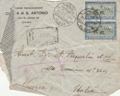 LETTERA1927 DA EGITTO PER ITALIA TIMBRI QAHER(CAIRO)-AMBULANTE LECCE-CATTIVO STATO (Z1614 - Egypt