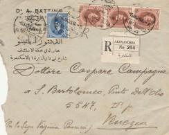 RACCOMANDATA 1925 DA EGITTO PER ITALIA TIMBRO ALEXANDRIA-VENEZIA (Z1621 - Egypt