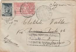 ESPRESSO 1916 CON ESPRESSO VENT.25 (DECENTRATO)+20 CENT. SS-TIMBRO MESSINA PATTI PALERMO (Z1883 - Marcofilía