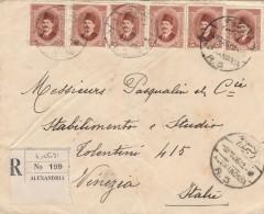 RACCOMANDATA 1926 DA EGITTO PER ITALIA TIMBRO ALEXANDRIA VENEZIA BRINDISI (Z1887 - Egypt