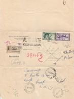 RACCOMANDATA 1953 CON 10+50 LIRE ITALIA AL LAVORO  AL MITTENTE TIMBRO AMBULANTE OPISA ROMA (Z1897 - 6. 1946-.. Repubblica