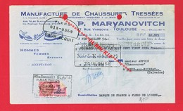 1 Lettre De Change TOULOUSE 7 Rue Varsovie P MARYANOVITCH Manufacture De Chaussures - Cambiali