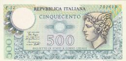 BANCONOTA ITALIA 500 LIRE UNC (Z1512 - [ 2] 1946-… : Républic