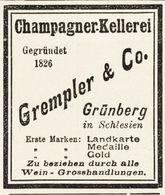 Original-Werbung/ Anzeige 1897 - CHAMPAGNER KELLEREI GREMPLER - GRÜNBERG - Ca. 45 X 50 Mm - Advertising