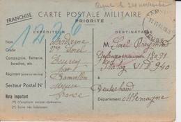 Carte Postale Militaire     1940 - Poststempel (Briefe)