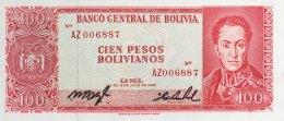 Bolivia 100 Pesps Bolivianos, P-163 (L.1962) - Unissued Series AZ With Signatures! SCARCE - Bolivien