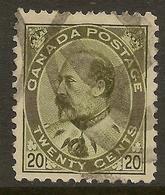 CANADA 1903 20c Deep Olive-green KEVII SG 188 U #ET22 - 1903-1908 Reign Of Edward VII