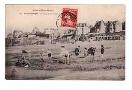 35 Saint St Enogat La Plage Et Les Villas De La Mer Cpa Carte Animée Animation Cachet 1908 Dinard - Dinard