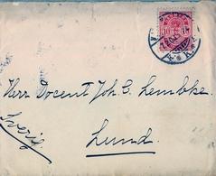 1900 , DINAMARCA , INTERESANTE SOBRE CIRCULADO ENTRE COPENHAGUE Y LUND ( SUECIA ) , LLEGADA - 1864-04 (Christian IX)