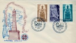 1964 , BARCELONA  , SOBRE CON MATASELLOS ESPECIAL , EXPOSICIÓN FILATÉLICA DE LA BARCELONETA - 1931-Hoy: 2ª República - ... Juan Carlos I