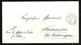 """Württemberg 1864  Dreikreisstempel """"Herrenalb"""" Auf Doppelt Verw. Brief. Rückseitig Dreikreisst. Von Tuttlingen - Wuerttemberg"""