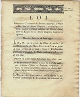 F.12051 1791 REVOLUTION  RELIGION LOI Eglise Clergé Ecclesiastiques TRAITEMENTS ET SECOURS TOUJOURS D'ACTUALITE - Decrees & Laws