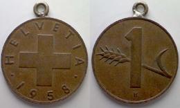 05266 MEDAGLIA MEDAL COIN SWISSE 1 RAPPEN HELVETIA 1958 - Tokens & Medals
