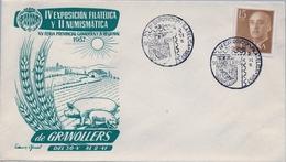 1957 , BARCELONA , SOBRE CON MATASELLOS ESPECIAL , IV EXPO. FILATÉLICA Y II NUMISMÁTICA DE GRANOLLERS, GANADERIA - 1931-Hoy: 2ª República - ... Juan Carlos I