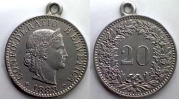 05267 MEDAGLIA MEDAL COIN SWISSE 20 RAPPEN CONFEDERATIO HELVETIA 1883 - Tokens & Medals