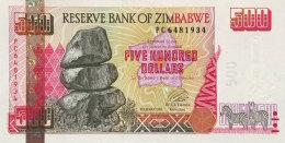 Zimbabwe 500 Dollars, P-10 (2001) UNC - Simbabwe