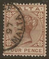 MALTA 1885 4d Brown QV SG 27 U #HO12 - Malte