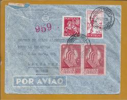 Registered Mail Censored With Two Stamps Monument To Discoveries,Lisbon.Palindrome.Censorship Switzerland.2WW.Purple.2sc - Monuments