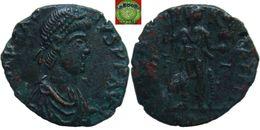 Roman Empire - AE3 Follis Of Arcadius Struck Under Honorius (383 - 408 AD), VRBS ROMA FELIX, Victory - 8. La Fin De L'Empire (363-476)