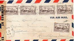 JOLIE LETTRE DE MARTINIQUE POUR LA REPUBLIQUE DOMINICAINE EN 1945 AVEC CENSURE MILITAIRE - Martinique (1886-1947)