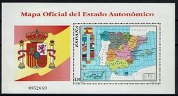 Spanien Espana Spain 1996 - Karte Der Autonomen Regionen - MiNr Block 67 (3305) - Geographie