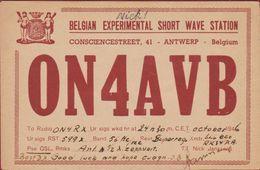Very Old QSL Card Amateur Radio Station CB 1946 Belgian Experimental Short Wave Station Antwerp Antwerpen - Radio Amateur